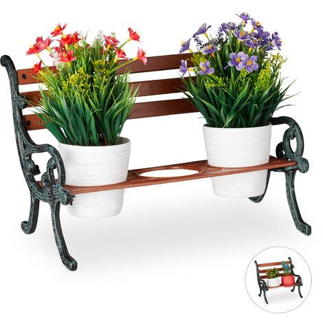 Relaxdays Mini Flower Bench, Wood & Cast Iron, Flower Holder for 3 Pots, Garden Decoration, Brown/Grey-Green
