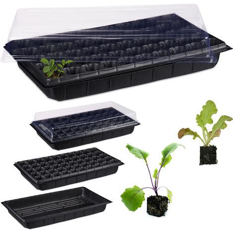 Relaxdays Mini Greenhouse, Lidded Germination Pod for 50 Plants, Windowsill, Balcony, 55.5x29.5 cm, Black