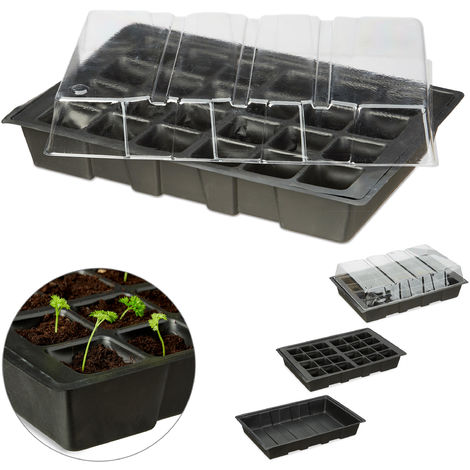 Relaxdays Mini Greenhouse with 24 Slots, Transparent Hood, Germination Tray with Holes, Plastic, Black