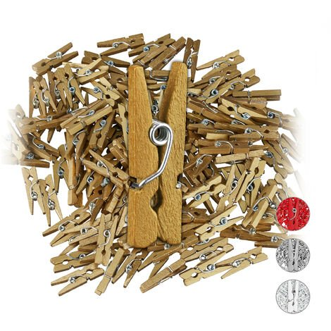 Relaxdays Mini Wooden Pegs, Pack of 144, DIY & Crafts Clips, Wedding Decoration, Gift Wrapping, Photo Hangers, Gold