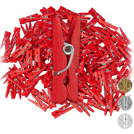 Relaxdays Mini Wooden Pegs, Pack of 144, DIY & Crafts Clips, Wedding Decoration, Gift Wrapping, Photo Hangers, Red