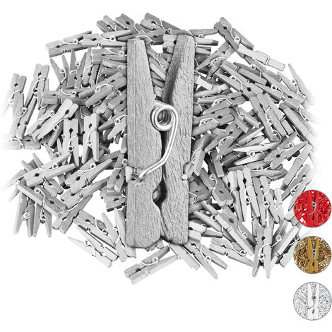 Relaxdays Mini Wooden Pegs, Pack of 144, DIY & Crafts Clips, Wedding Decoration, Gift Wrapping, Photo Hangers, Silver