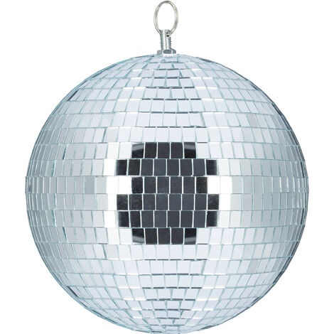 Relaxdays Mirror Ball, Large Ceiling Light, Party Decoration, Disco & New Year's Eve, Shiny, Reflecting, Ø 20 cm, Silver