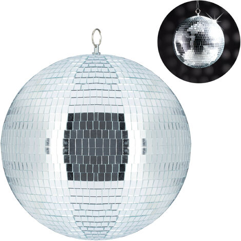 Relaxdays Mirror Ball, Large Ceiling Light, Party Decoration, Disco & New Year's Eve, Shiny, Reflecting, Ø 30 cm, Silver