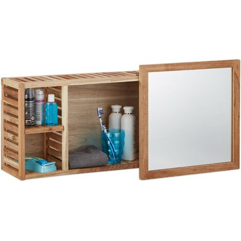 Relaxdays Mirror Bathroom Cabinet, Walnut Wood, Sliding Mirror, Oiled Wood, 80 cm Long, Natural Brown