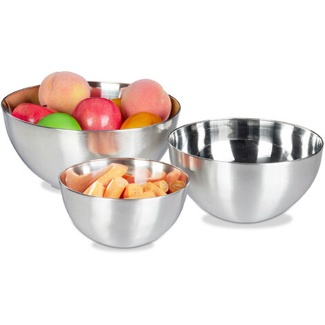 Relaxdays Mixing Bowl Set, 3 Piece, Salad, Fruit & Serving Bowl,Dishwasher-safe, Stainless Steel, Various Sizes, Nesting, Silver