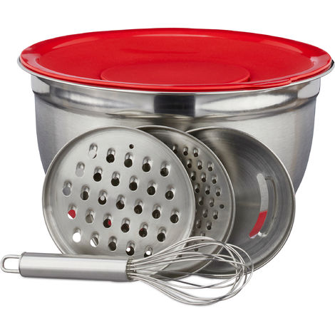 Relaxdays Mixing Bowl Set, 6-Piece, Bowl with Lid, 3 Graters & Whisk, Stainless Steel, Nonslip, Silver/Red