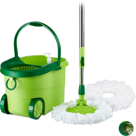 Relaxdays MOBIL Power Mop with Bucket On Wheels, Plastic Wringer, Telescopic Rod, 360° Mop Head, HWD: 27x47x27 cm, Green & Silver