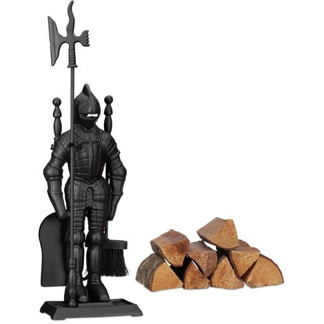 Relaxdays Modern Cast Iron Fire Irons Knight, 4-Piece Fireplace Companion Set with Shovel, Broom, Poker and Rack, Black