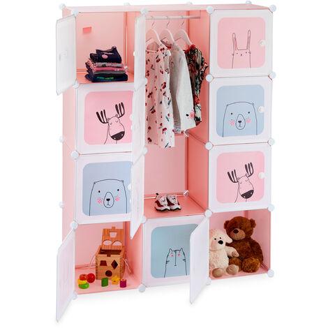 Relaxdays Modular Children's Shelf, Girls, Fun Designs, Plastic, DIY Rack with Doors, HWD 145x110x37.5 cm, Pink