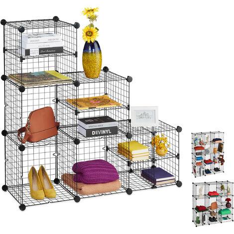 Relaxdays Modular Grid Shelf, 11 Compartments, Open Shelving Unit, Metal, DIY System, 111x111x37cm, Black