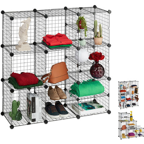 Relaxdays Modular Grid Shelf, 16 Compartments, Open Shelving Unit, Metal, DIY System, 111x111x37cm, Black