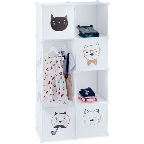 Relaxdays Modular Interlocking Closet Unit, Cat Design, 7 Cubicles, Clothes Rail, Cupboard HxWxD: 145x74x36.5 cm, White