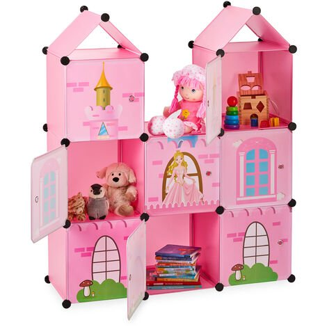 Relaxdays Modular Kids' Shelving Unit, Princess Castle, Plastic, DIY Cabinet with Doors, HWD: 128 x 110 x 37 cm, Pink