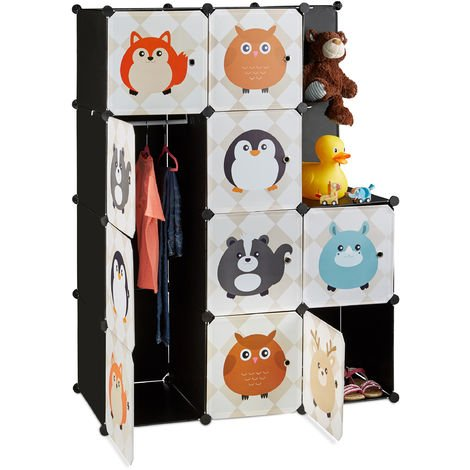 Relaxdays Modular Kids Storage Shelf, Animal Themed Plug-In Wardrobe System with Doors, Dresser with Clothes Rail, Colourful