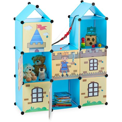 Relaxdays Modular Nursery Shelf, Cool Castle, Plastic, Kids' Shelving Unit with Doors, HWD: 128 x 110 x 37 cm, Colourful