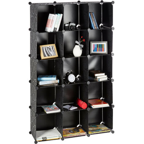 Relaxdays Modular Plastic Shelf, Expandable Shelving System, 15 Durable Compartments, Individual Standing Shelf, Black