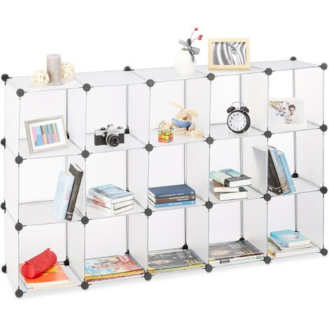 Relaxdays Modular Plastic Shelf, Expandable Shelving System, 15 Durable Compartments, Individual Standing Shelf, Transparent