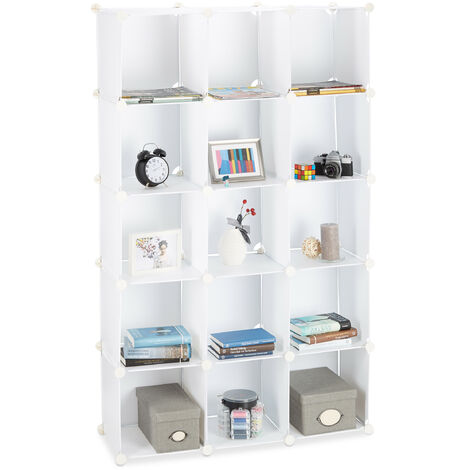 Relaxdays Modular Plastic Shelf, Expandable Shelving System, 15 Durable Compartments, Individual Standing Shelf, White