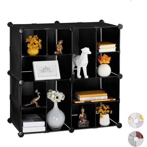 Relaxdays Modular Shelf, 12 Compartments, Open Storage Unit, Plastic, HxWxD: 75 x 75 x 37 cm, Black