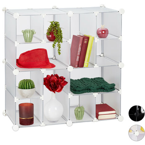 Relaxdays Modular Shelf, 12 Compartments, Open Storage Unit, Plastic, HxWxD: 75 x 75 x 37 cm, Transparent