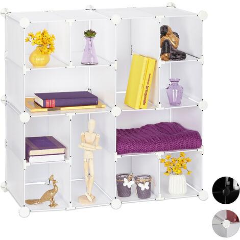 Relaxdays Modular Shelf, 12 Compartments, Open Storage Unit, Plastic, HxWxD: 75 x 75 x 37 cm, White