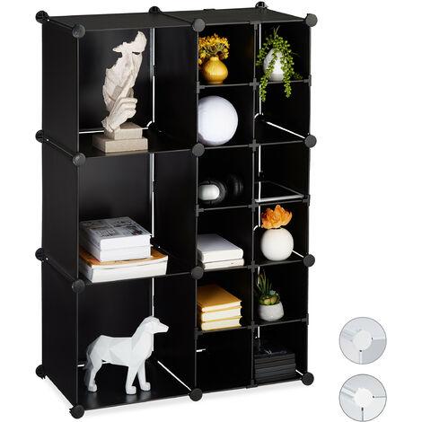 Relaxdays Modular Shelf, 15 Compartments, Open Storage Unit, Plastic, HxWxD 110.5 x 75 x 37 cm, Black