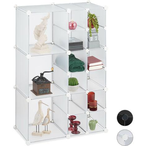 Relaxdays Modular Shelf, 15 Compartments, Open Storage Unit, Plastic, HxWxD 110.5 x 75 x 37 cm, Transparent