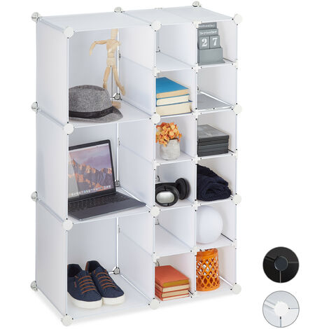 Relaxdays Modular Shelf, 15 Compartments, Open Storage Unit, Plastic, HxWxD 110.5 x 75 x 37 cm, White