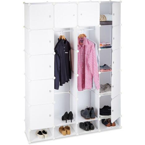 Relaxdays Modular Wardrobe, 18 Compartments, Plastic Closet, Shoe Cabinet 145x200 cm, White