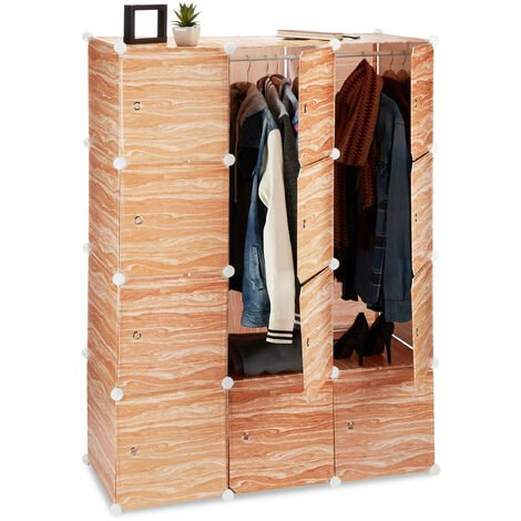 Relaxdays Modular Wardrobe, 8 Compartments, Plastic Closet, Shoe Cabinet, Wooden Design, 145 cm