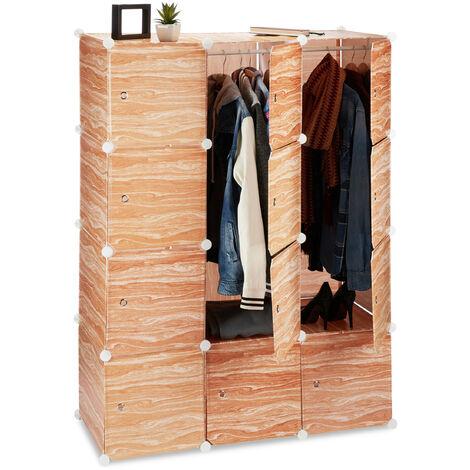Relaxdays Modular Wardrobe, 8 Compartments, Plastic Closet, Shoe Cabinet, Wooden Design, 145 cm