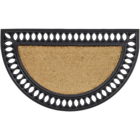 Relaxdays Moisture-Proof Coir Doormat Half Moon Round Floor Mat in Cast Iron Look Anti-Slip Welcome Mat 2 x 75 x 45, Natural Brown and Black