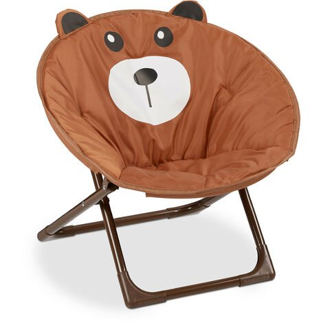 Relaxdays Moon Chair Kids Foldable Indoor & Outdoor Camping Seat for Boys and Girls, Bear, Brown HxWxD 48 x 51 x 48 cm