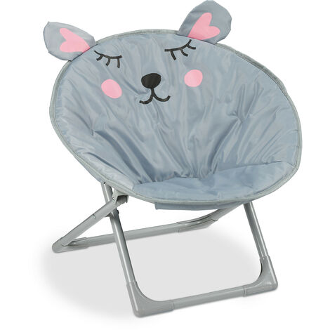 Relaxdays Moon Chair Kids Foldable Indoor & Outdoor Camping Seat for Boys and Girls, Mouse, Grey HxWxD 48 x 51 x 48 cm
