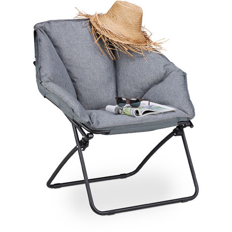 Relaxdays Moon Chair XXL, Foldable Camping Seating For In- & Outdoors, Upholstered, 100 kg Capacity, H x W x D 87 x 85 x 70 cm, Grey