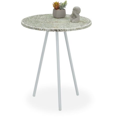 Relaxdays Mosaic Side Table, Round Ornate Vanity Stand, Handmade, Unique, HxD: 50 x 41 cm, Creme