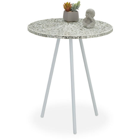 Relaxdays Mosaic Side Table, Round Ornate Vanity Stand, Handmade, Unique, HxD: 50 x 41 cm, White