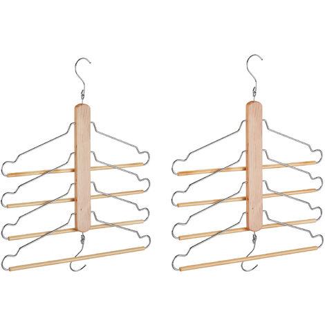 Relaxdays Multi Clothes Hanger Pack of 2, Holder with 4 Flexible Coat Hangers, Wardrobe Organiser, Metal Hooks, Lotus Wood, Natural