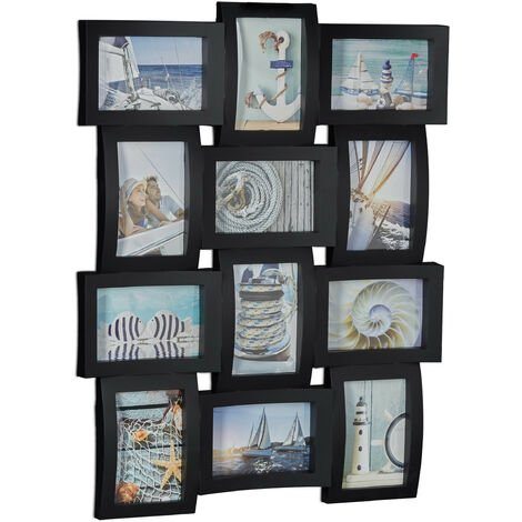 Relaxdays Multi-Photo Frame, Collage Frame for 12 Pictures, Photo Frame, HWD: 60.5 x 47.5 x 3.5 cm, Black