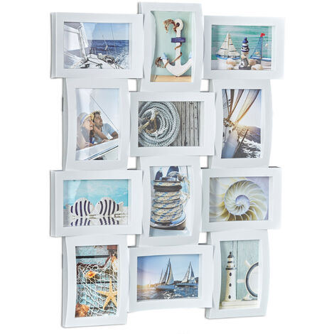 Relaxdays Multi-Photo Frame, Collage Frame for 12 Pictures, Photo Frame, HWD: 60.5 x 47.5 x 3.5 cm, White