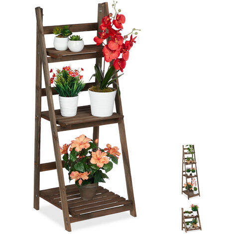 Relaxdays Multi-Tier Flower Shelf, Wooden Plant Ladder Rack, Folding, 108 x 41 x 40 cm, Dark Brown