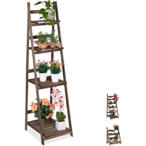 Relaxdays Multi-Tier Flower Shelf, Wooden Plant Ladder Rack, Folding, 160 x 41 x 49 cm, Dark Brown