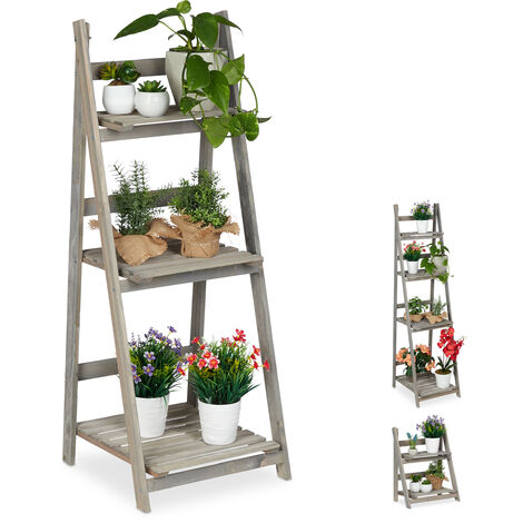 Relaxdays Multi-Tier Flower Shelf, Wooden Plant Ladder Rack, Folding, HWD: 108 x 41 x 40 cm, Grey