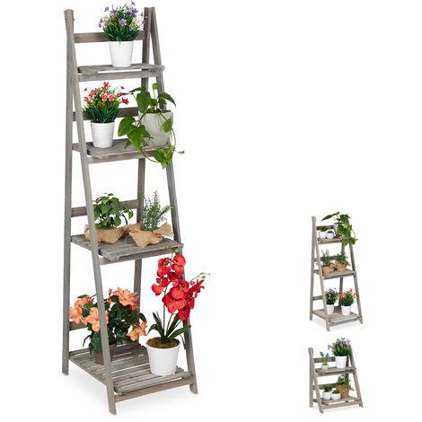 Relaxdays Multi-Tier Flower Shelf, Wooden Plant Ladder Rack, Folding, HWD: 160 x 41 x 50 cm, Grey