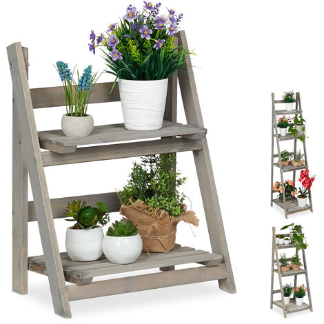 Relaxdays Multi-Tier Flower Shelf, Wooden Plant Ladder Rack, Folding, HWD: 51.5 x 41 x 24 cm, Grey