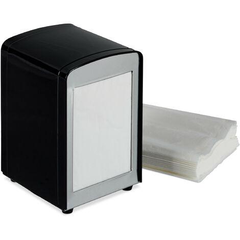 Relaxdays Napkin Dispenser Retro, Small Paper Serviettes, For Cafe, Bistro etc, HWD: 15x9.5x11, Black