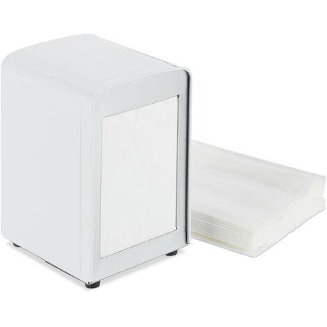 Relaxdays Napkin Dispenser Retro, Small Paper Serviettes, For Cafe, Bistro etc, HWD: 15x9.5x11, White