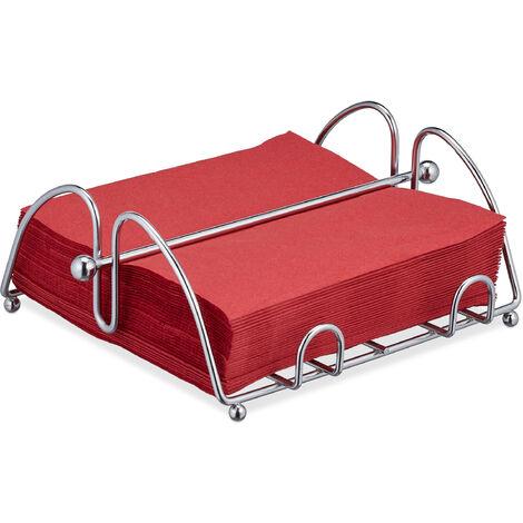 Relaxdays Napkin Holder with Weighted Bar, For 33x33 cm Napkins, Kitchen & Restaurant Serviette Dispenser, Metal, Silver