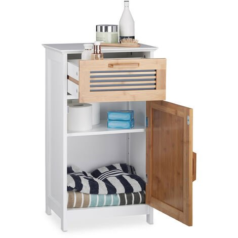 Relaxdays Narrow Bathroom Cabinet, Drawer, Natural Look, Height-Adjustable Shelf; MDF, HWD: 70x40x28.5cm, White